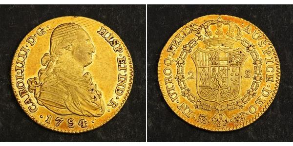 2 Эскудо Испанская империя (1700 - 1808) Золото Карл IV король Испании (1748-1819)