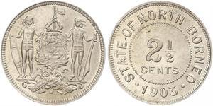 2 1/2 Цент Северное Борнео (1882-1963) Никель/Медь