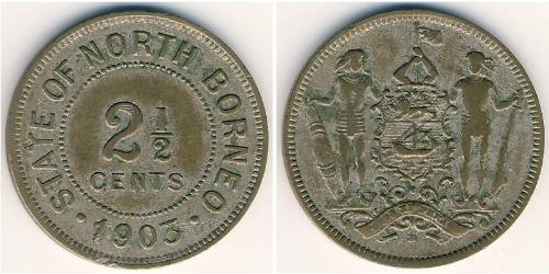 2 1/2 Цент Північний Борнео (1882-1963) Нікель/Мідь