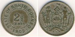 2 1/2 Cent North Borneo (1882-1963) Copper/Nickel