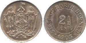 2 1/2 Cent North Borneo (1882-1963) Copper/Nickel