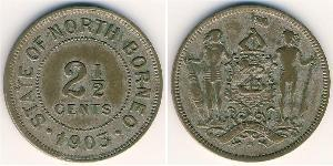 2 1/2 Cent North Borneo (1882-1963) Kupfer/Nickel