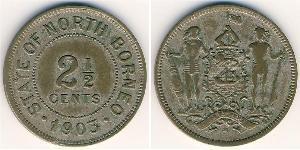 2 1/2 Cent Borneo Septentrional (1882-1963) Níquel/Cobre