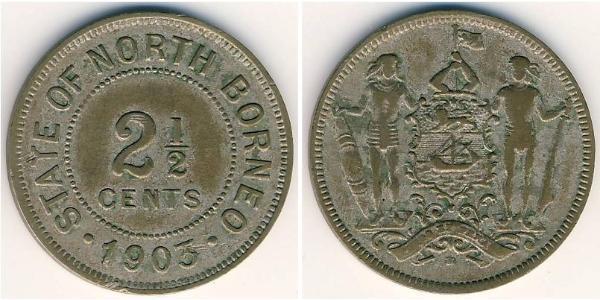 2 1/2 Cent Borneo del Nord (1882-1963) Rame/Nichel
