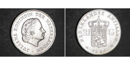 2 1/2 Gulden Antilles néerlandaises (1954 – 2010) Argent Juliana of the Netherlands (1909 – 2004)