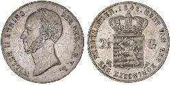 2 1/2 Gulden Royaume des Pays-Bas (1815 - ) Argent Guillaume II des Pays-Bas (1792 - 1849)