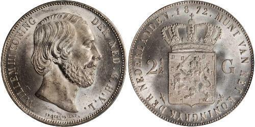 2 1/2 Gulden Royaume des Pays-Bas (1815 - ) Argent Guillaume III (roi des Pays-Bas)