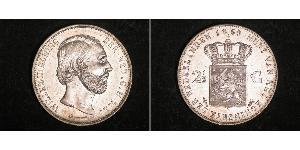 2 1/2 Gulden Regno dei Paesi Bassi (1815 - ) Argento Guglielmo III dei Paesi Bassi