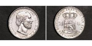 2 1/2 Gulden Reino de los Países Bajos (1815 - ) Plata Guillermo III de los Países Bajos