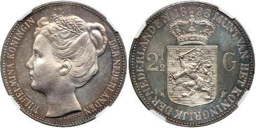 2 1/2 Gulden Reino de los Países Bajos (1815 - ) Plata Guillermina de los Países Bajos(1880 - 1962)