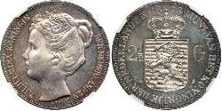 2 1/2 Gulden Kingdom of the Netherlands (1815 - ) Silver Wilhelmina of the Netherlands (1880 - 1962)