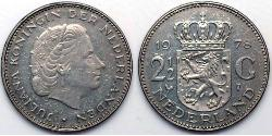 2 1/2 Gulden Kingdom of the Netherlands (1815 - ) Silver Juliana of the Netherlands (1909 – 2004)