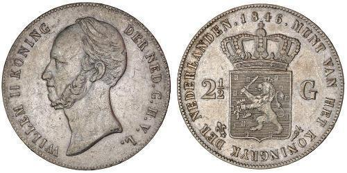 2 1/2 Gulden Kingdom of the Netherlands (1815 - ) Silver William II of the Netherlands (1792 - 1849)