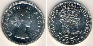 2 1/2 Shilling South Africa Silver Elizabeth II (1926-)