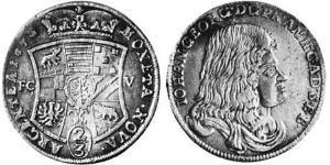 2/3 Талер Ангальт-Дессау (1603 -1863) Серебро Иоганн Георг II (князь Ангальт-Дессау)(1627 – 1693)