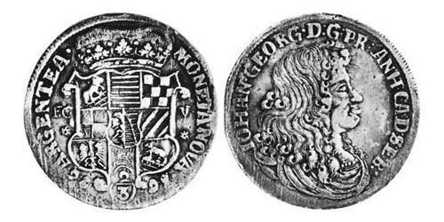 2/3 Талер Ангальт-Дессау (1603 -1863) / Анхальт (1806 - 1918) Серебро Иоганн Георг II (князь Ангальт-Дессау)(1627 – 1693)