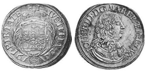 2/3 Талер Ансбах (1398–1792) Срібло John Frederick, Margrave of Brandenburg-Ansbach (1654 – 1686)