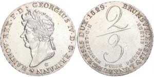 2/3 Thaler 汉诺威王国 (1814 - 1866) 銀 喬治四世 (1762-1830)