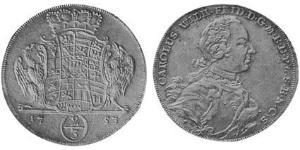 2/3 Thaler Principality of Ansbach (1398–1792) 銀 Charles William Frederick, Margrave of Brandenburg-Ansbach (1712 – 1757)