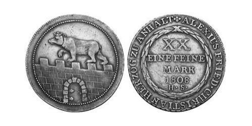 2/3 Thaler Anhalt-Bernburg (1603 - 1863) Argento Alessio Federico Cristiano di Anhalt-Bernburg(1767 – 1834)
