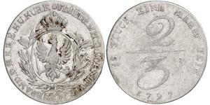 2/3 Thaler Regno di Prussia (1701-1918) Argento