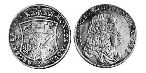 2/3 Thaler Anhalt-Dessau (1603 -1863) Plata John George II, Prince of Anhalt-Dessau (1627 – 1693)