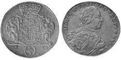 2/3 Thaler Principado de Ansbach (1398–1792) Plata Charles William Frederick, Margrave of Brandenburg-Ansbach (1712 – 1757)