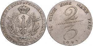 2/3 Thaler Reino de Prusia (1701-1918) Plata