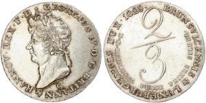 2/3 Thaler Königreich Hannover (1814 - 1866) Silber Georg IV (1762-1830)