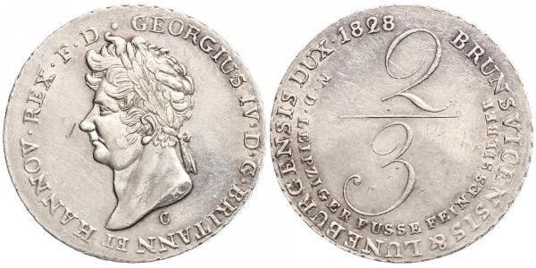 2/3 Thaler Kingdom of Hanover (1814 - 1866) Silver George IV (1762-1830)