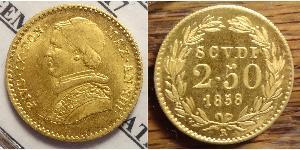 2.5 Скудо Папская область (752-1870) Золото Пий IX (1792- 1878)