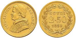 2.5 Скудо Папська держава (752-1870) Золото Пій IX (1792- 1878)