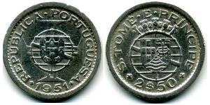 2,5 Escudo São Tomé and Príncipe (1469 - 1975) Copper/Nickel