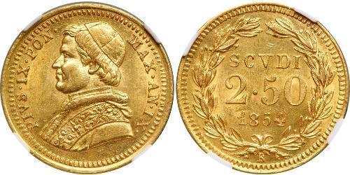 2.5 Scudo 教皇国 (754 - 1870) 金 Pope Pius IX (1792- 1878)