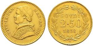 2.5 Scudo Estados Pontificios (752-1870) Oro Pío IX (1792- 1878)