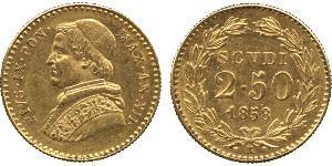 2.5 Scudo Stato Pontificio (752-1870) Oro Papa Pio IX (1792- 1878)