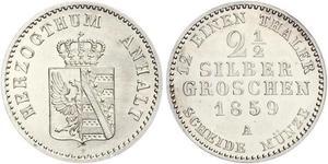 2.5 Silbergroschen Ангальт-Бернбург (1603 - 1863) Серебро Александр Карл ,герцог Ангальт-Бернбурга,(1805 – 1863)