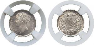 2 Anna Inde / Compagnie anglaise des Indes orientales (1757-1858) Argent Victoria (1819 - 1901)