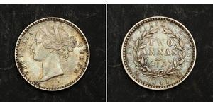 2 Anna Compagnia Inglese delle Indie Orientali (1757-1858) / India Argento Vittoria (1819 - 1901)