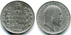 2 Anna Raj Britannico (1858-1947) Argento Edoardo VII (1841-1910)