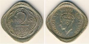 2 Anna India (1950 - ) Copper/Nickel George VI (1895-1952)