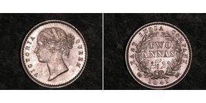 2 Anna Compañía Británica de las Indias Orientales (1757-1858) / India Plata Victoria (1819 - 1901)