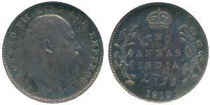 2 Anna Raj Británico (1858-1947) Plata Eduardo VII (1841-1910)