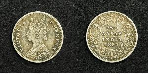 2 Anna Raj Británico (1858-1947) Plata Victoria (1819 - 1901)