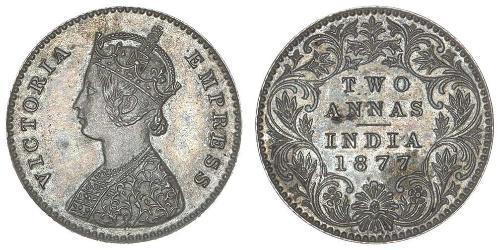 2 Anna Britisch-Indien (1858-1947) Silber Victoria (1819 - 1901)
