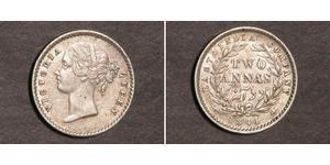 2 Anna Indien / Britische Ostindien-Kompanie (1757-1858) Silber Victoria (1819 - 1901)