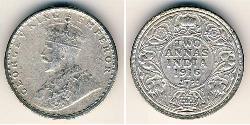 2 Anna British Raj (1858-1947) Silver George V of the United Kingdom (1865-1936)