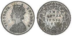 2 Anna British Raj (1858-1947) Silver Victoria (1819 - 1901)
