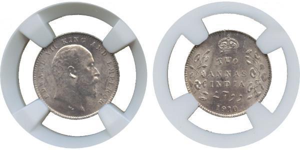 2 Anna British Raj (1858-1947) Silver Edward VII (1841-1910)
