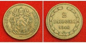 2 Baiocco Papal States (752-1870) Copper Pope Pius IX (1792- 1878)
